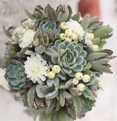 succulent bouquet winter wedding idea succulents