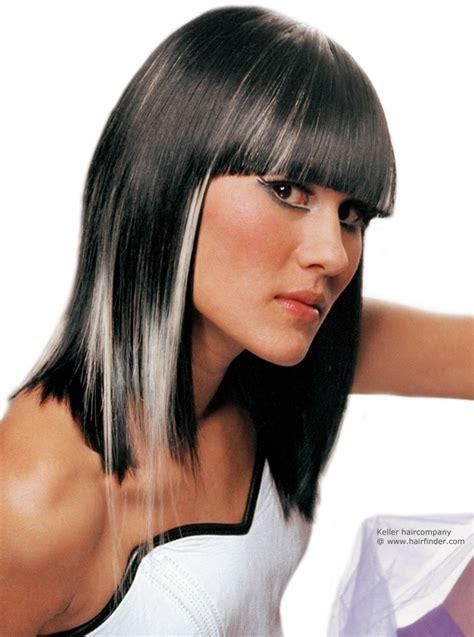 dark hair with grey streaks shiny black hair with bleached white streaks