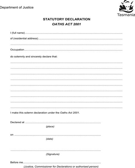 download statutory declaration form for free formtemplate