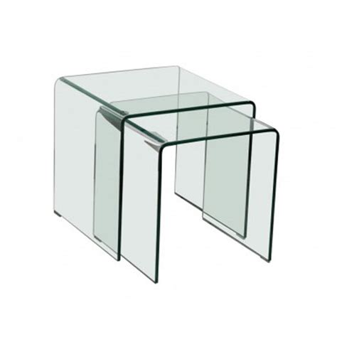 Clear Nesting Tables by Azuria Clear Glass Set Of 2 Nesting Tables 22854 Furniture