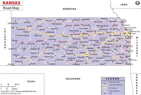 show me a map of kansas kansas road map http www mapsofworld