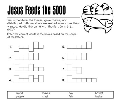 jesus feeds the 5000 word shape puzzle