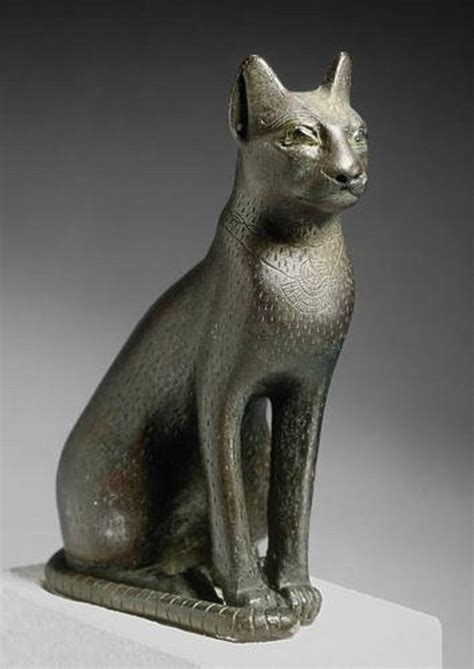 egyptian cat sculpture the met store sitting cat bronze statue with inlaid quartz eyes