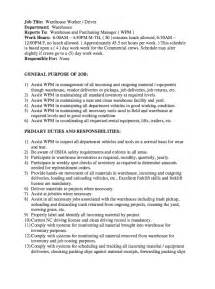 warehouse description resume sle description
