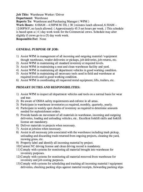 Resume For Warehouse Worker by Warehouse Worker Description Resume Free Resume Sle