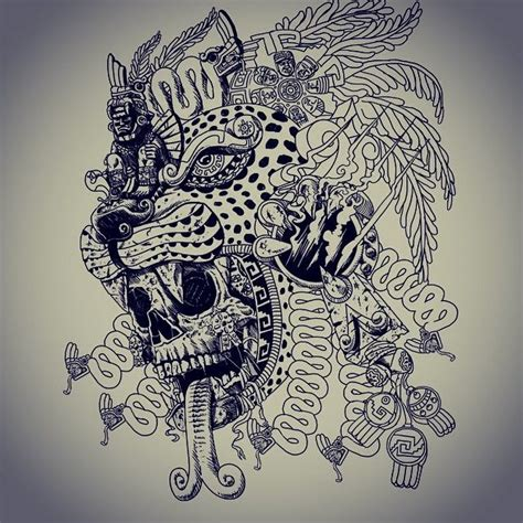 aztec jaguar tattoo designs wip jaguar warrior update skull snake serpent aztec