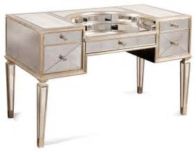 Makeup Vanity Houzz Borghese Mirrored Desk Contemporary Bedroom Makeup