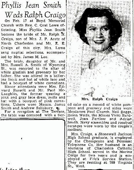 Charleston Marriage Records Smith Craigo Wedding