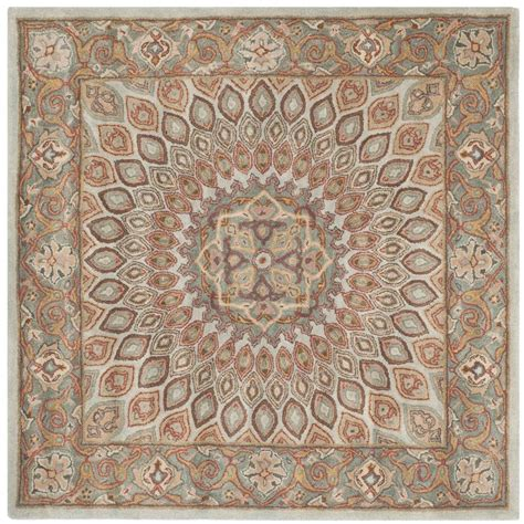 Safavieh Heritage Blue Grey 10 Ft X 10 Ft Square Area Square Rug