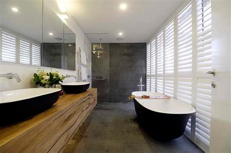 Modern Bathroom Ensuite Matte Black Bath And Basins For The Block Josh And