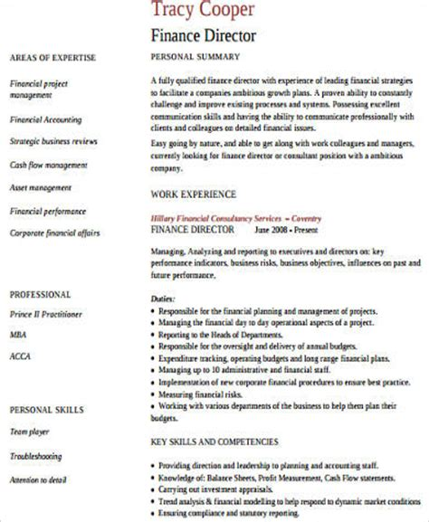 director of finance resume exles sle finance resume 11 exles in word pdf