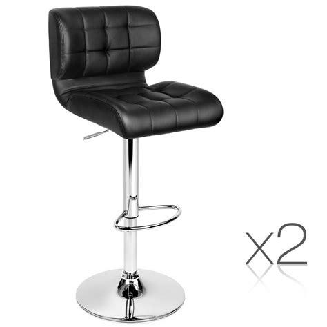 Leather Bar Stools Set Of 2 set of 2 leather bar stools black