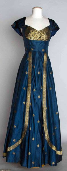 1950 blue silk taffeta w metallic gold brocade dress fashioned from