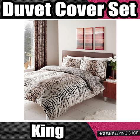 Tiger Quilt Cover by Tiger Print Polycotton King Size Duvet Quilt Cover Set