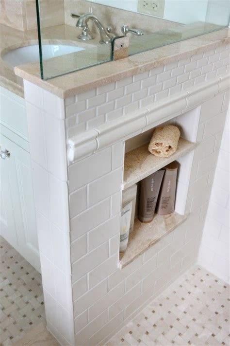 thick chair rail wall shower compartment tile design maybe an idea for