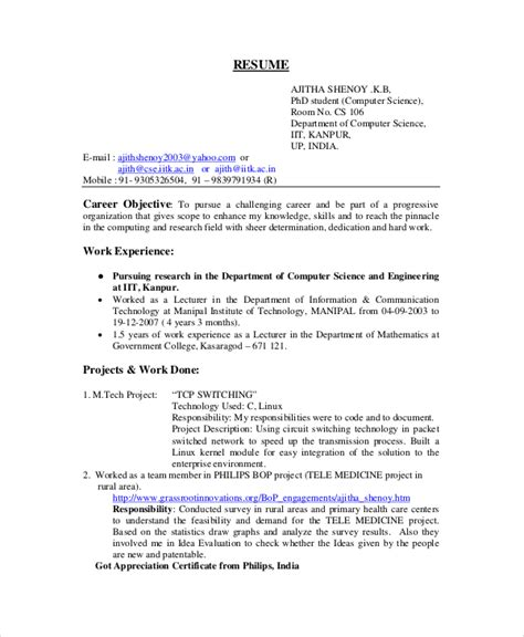 Resume Computer Science by Computer Science Resume Exle 9 Free Word Pdf