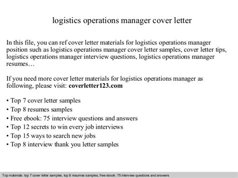 Transport Operations Manager Cover Letter logistics operations manager cover letter