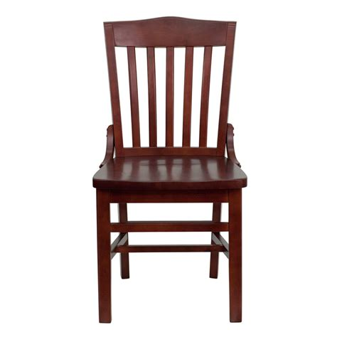 Wood Restaurant Chairs by Hercules Mahogany Finished School House Back Wooden