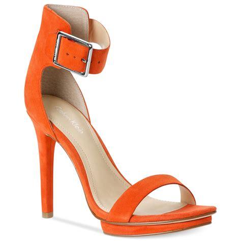 orange sandal heels calvin klein s high heel sandals in orange