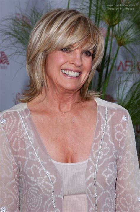 Linda Gray   Short razor cut shag hairstyle with a side swept fringe