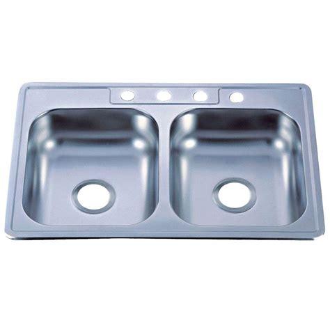 Kingston Brass Drop In Stainless Steel 33 In 4 Hole Brass Kitchen Sink