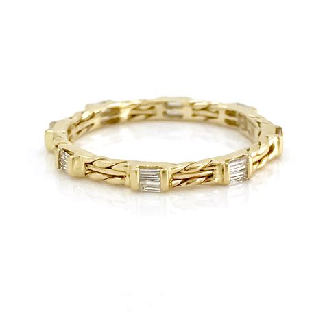 18k Gold Wedding Band by 18k Gold Baguette Wedding Band Stacking Ring