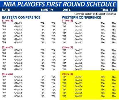 Mba Playoff Tv Schedule by If Both Teams Playoff Series End Early Will The Nba Move