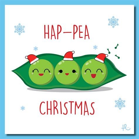 cute hap pea christmas card xmas merry christmas