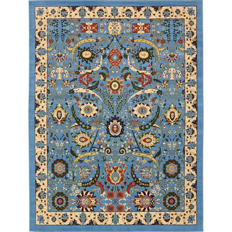10 x 13 ft area rug unique loom isfahan blue 10 ft x 13 ft area rug 3137502
