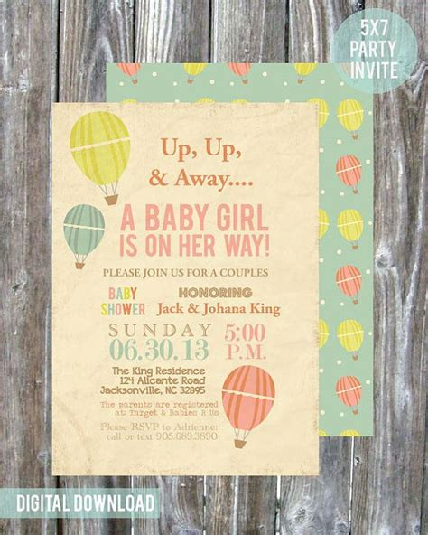 Couples Baby Shower Invites by Air Balloon Couples Baby Shower Invitation Digital