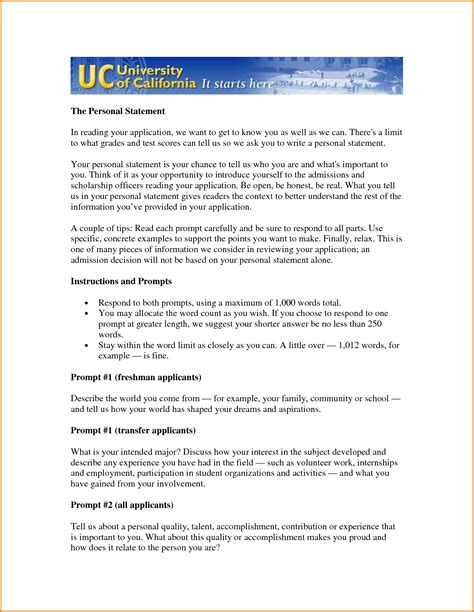 Uc Essays Exles by Personal Statement Exles For Prompt 1