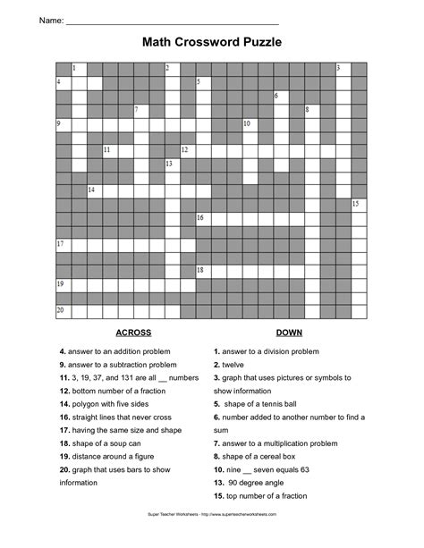 printable word games for 7th graders math vocabulary crossword puzzles printable math