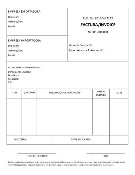 modelo de factura comercial modelo de factura comercial commercial invoice