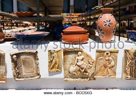 Shopping In The Best Pottery In Town by Souvenir Shop With Pottery Chania Crete Greece Stock