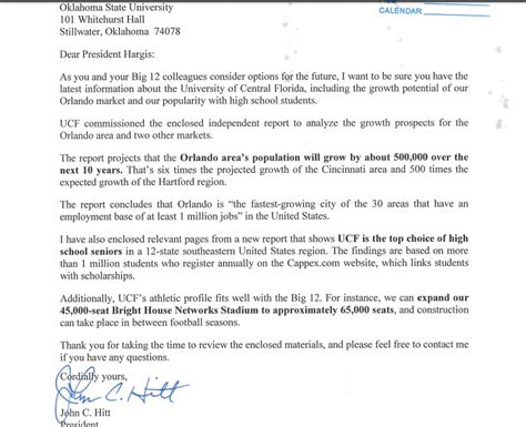 Acceptance Letter Usf Ucf S Big 12 Pitch Took Aim At Uconn And Cincy And Claimed Supremacy Sbnation