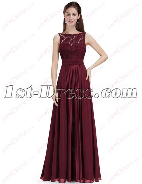 Elegant Burgundy Lace Prom Dress with Open Back:1st dress.com