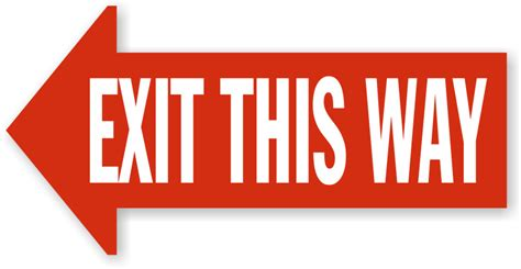 this way for the exit this way left arrow floor sign sku sf 0519 mysafetysign com