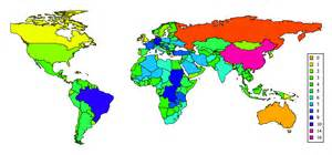 color world map number of neighbors for world countries visualign