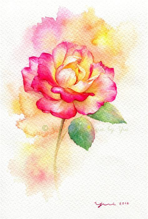 libro watercolour flower portraits rose original watercolor painting 7 5x11 inches