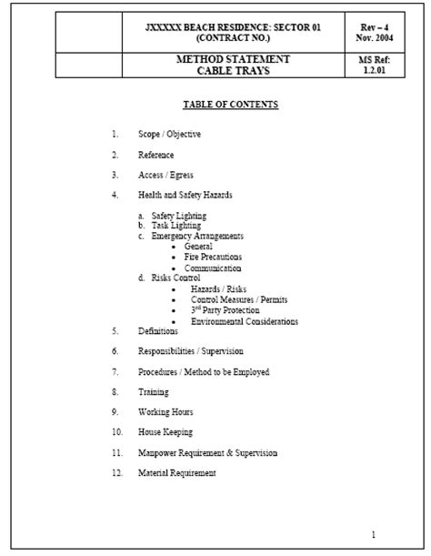 cable installation methods method statement cable trays method statement