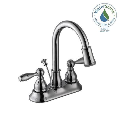 Glacier Bay Two Handle Bathroom Faucet by Glacier Bay Mandouri 4 In Centerset 2 Handle Led High Arc