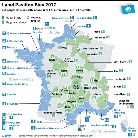 pavillon blau le label pavillon bleu d 233 cern 233 224 173 communes soit 390