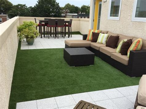Modular Outdoor Flooring by Artificial Turf Grasses And Tile On