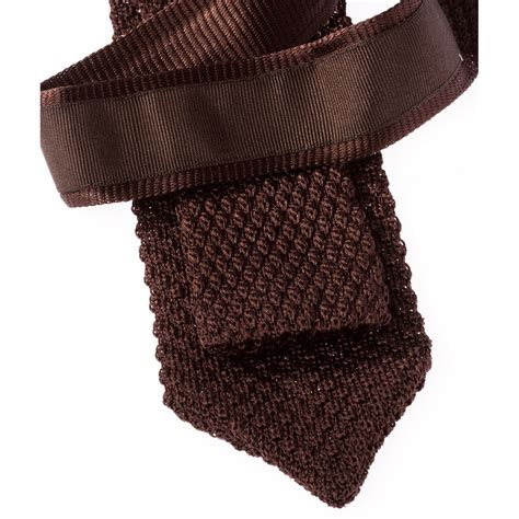 Brown Knitted Tie With Pointed End Howard S