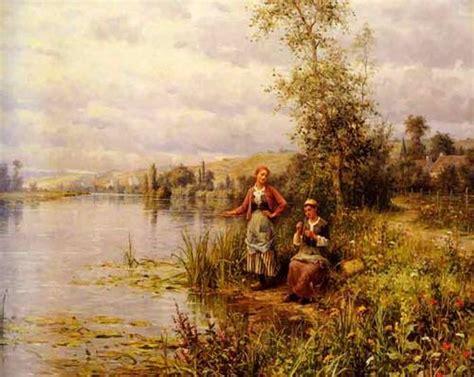 Lukisan Gadis Desa Mencuci Pakaian dinomarket pasardino lukisan pemandangan alam kualitas karya seni tinggi dapatkan disini