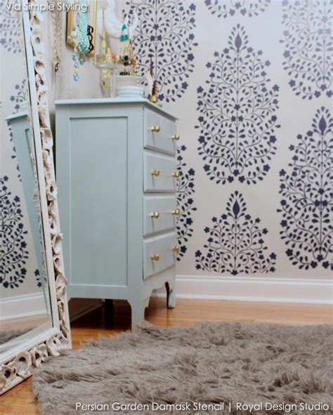 Garden Wall Stencils by Garden Damask Wall Stencil For Painting Walls And Furniture Royal Design Studio