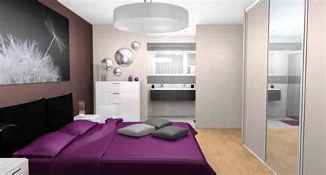 Beautiful Salon Gris Chaleureux  #14: Suite-parentale-chambre-salle-de-bain-beige-prune-gris-noir-mosaique-douche-baignoire-2-1.jpg