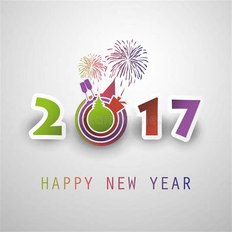 Happy New Year 2017 Card Template by Best Wishes Abstract Modern Style Happy New Year