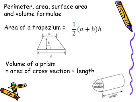 cross sectional area of trapezium formulae gcse mathematics