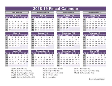 fiscal year calendar template uk fiscal calendar template 2018 19 free printable templates